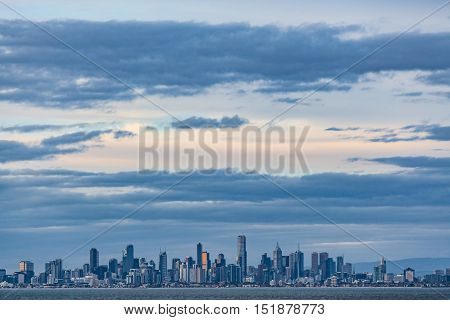 Melbourne Cbd Skyline At Dusk From Port Phillip Waters.