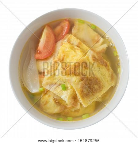 Thai Cuisine and Food Top View of Thai Omelet Soup with Tomatoes and Chopped Scallion Isolated on A White Background.
