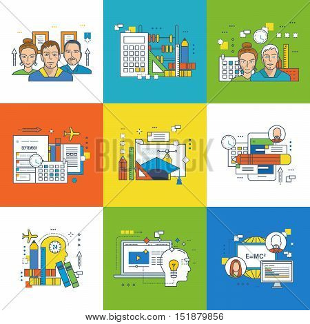 Concept of teamwork, learning, joint training, types of education, project planning, graphic design, success in learning, mobile learning, advances in training, video training. Vector illustration