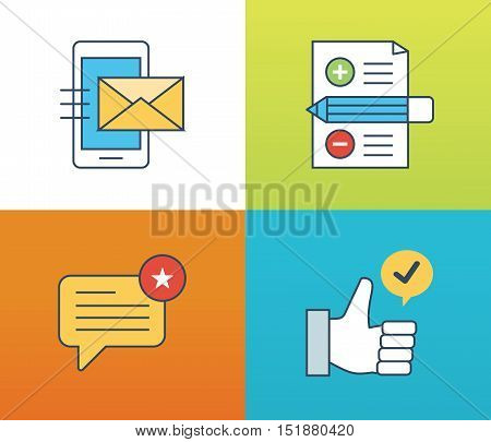Concept illustration - feedback, reviews and rating, testimonials, like, communication. Voting system and technology reviews. Editable Stroke. Vector illustration