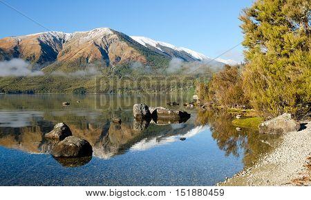 Alpine Lake Reflection.  Nelson Lakes National Park, Southern Alps, New Zealand.