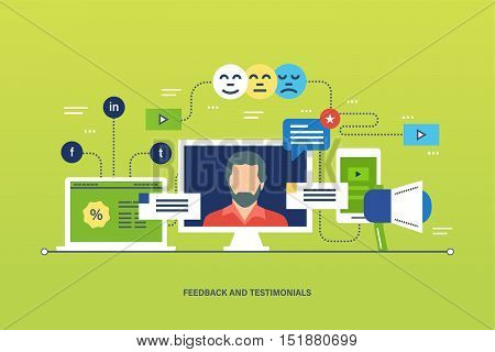 Concept illustration - feedback, reviews and rating, testimonials, like, communication. Voting system, communications and technology reviews. Editable Stroke. Vector illustration