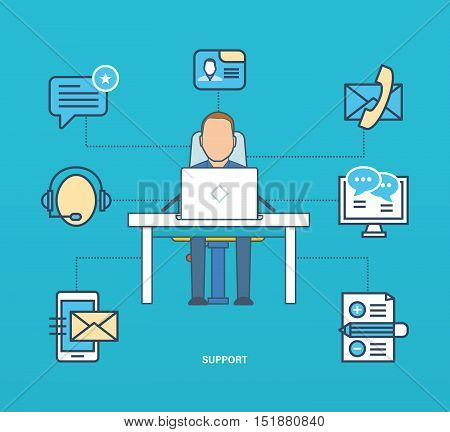 Concept of Internet business and technology, support, testimonials and reviews. Officer of Technical Support , working on various means of communication. Color Line icons collection. Vector design.