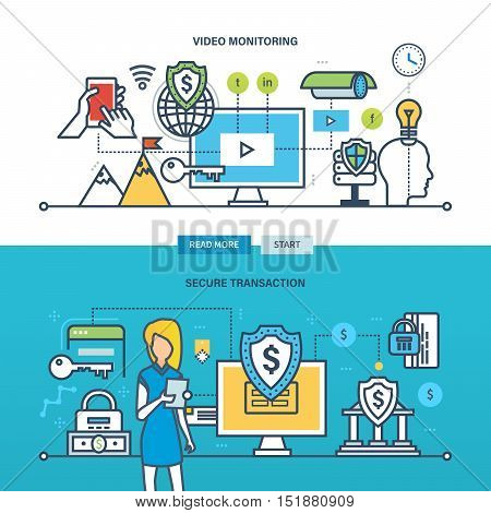 Concept of technology, business, economy and security, video monitoring and secure transaction. Color Line icons collection. Vector design for website, banner, printed materials and mobile app.