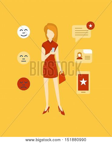 Concept illustration - girl leaves a review and rating of in a mobile application of the online store. Editable Stroke. Vector design for website, banner, printed materials and mobile app.