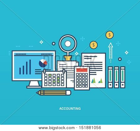 Concept of illustration - reporting, monitoring, planning, types and methods of economic accounting, statistics, analysis and management. Vector design for website, printed materials and mobile app.