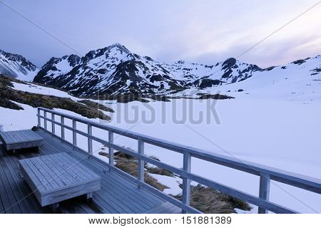 The Lake Angelus Hut and Mountain Views.  Nelson Lakes National Park, Southern Alps, New Zealand.