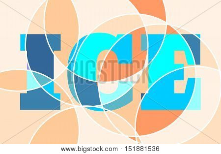 Colorful scribble element. Abstract background. Concentric lines. Ice text