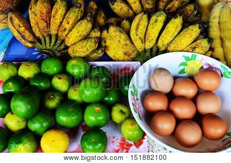 Vegetables, fruit, food available in rural areas.