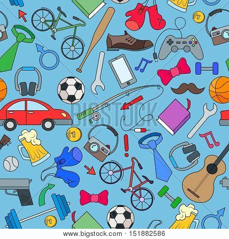 Seamless pattern on the theme of male Hobbies and habits simple hand-drawn icons on white background