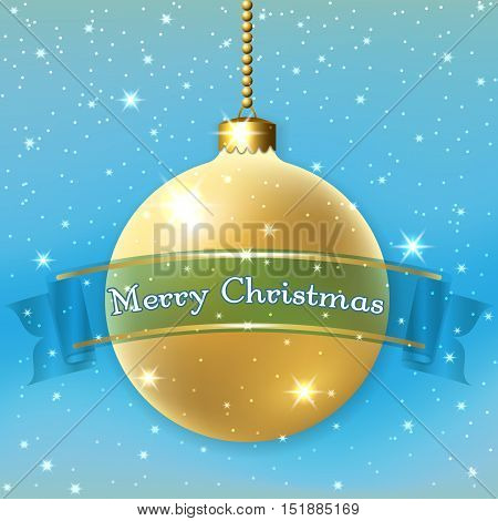 Merry Christmas decoration background with 3d gold ball. Stars glitter golden bauble blue ribbon white winter snowflakes. Xmas card Happy New Year celebration. Holiday design Vector illustration