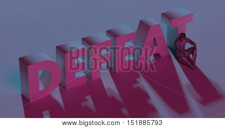 Defeat - Red Lettering Text Near Sad Man, 3D Render