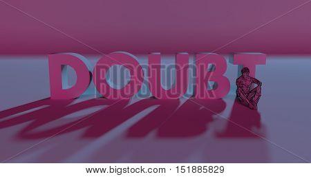 Doubt - 3D Render Lettering Near Low Poly Man Illustration
