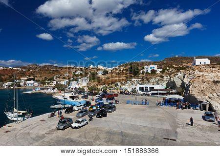 PSATHI, GREECE - SEPTEMBER 25, 2016: Psathi village and the main port of Kimolos island on September 25, 2016.