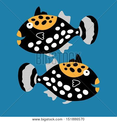 Greeting card with a two cute coral fish