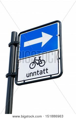 Norwegian traffic sign One way street do not apply for cyclists isolated on white.