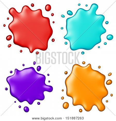 abstract color splash set isolated on white background. 3D
