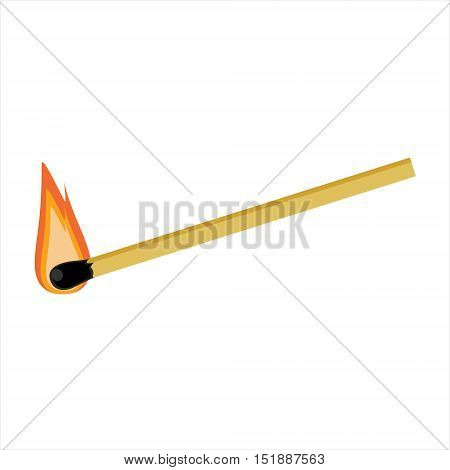 Vector illustration burning match stick isolated on whit background. Burn match icon
