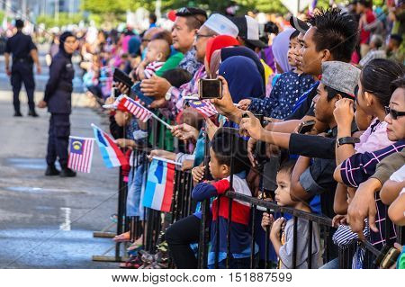 Kota Kinabalu,Sabah-Aug 31,2016:Malaysians participate in National Day parade, celebrating the independence on 31st Aug 2016 in Kota Kinabalu,Sabah,Borneo.