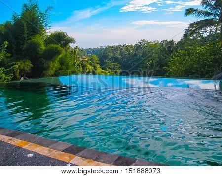Bali Indonesia - April 11 2012: View of swimming pool at Tanah Merah Art Resort