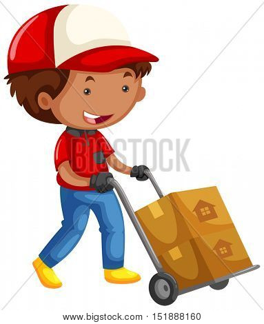 Man moving boxes on trolley cart illustration
