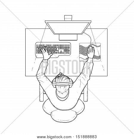 Young man sitting at the table and playing computer. Top view. Cyber sport concept. Coloring book page design for adults and kids.