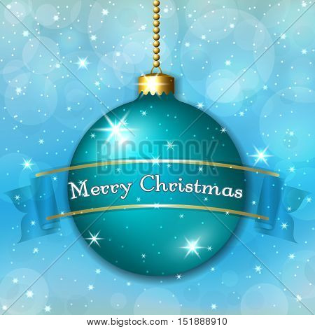Merry Christmas decoration background with 3d green ball. Stars glitter bauble and blue ribbon white winter snowflakes. Xmas card Happy New Year celebration. Holiday design Vector illustration