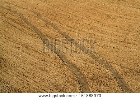Traces Of The Tractor On The Field