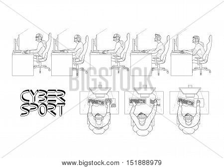 Young men sitting at the table and playing computer. Side and top views. Cyber sport concept. Vector set. Coloring book page design for adults and kids.