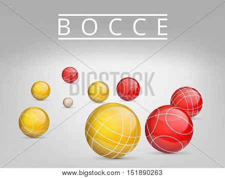 Set of colored balls scattered on a gray background.