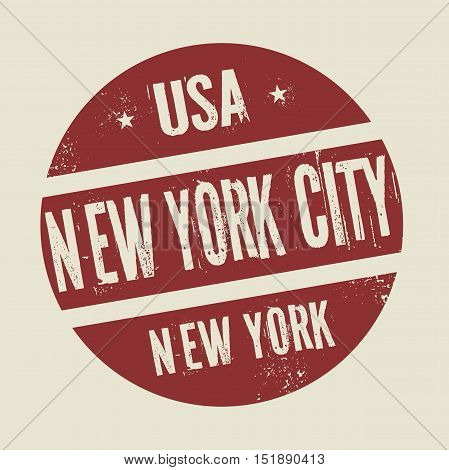 Grunge vintage round stamp with text New York City New York vector illustration