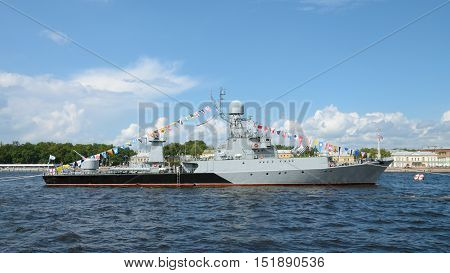 A warship equipped with military weapons for warfare.