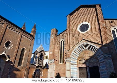 Facade and Gothic doorway of the church of Santa Anastasia (1290-1471) in Verona (UNESCO world heritage site) Veneto Italy