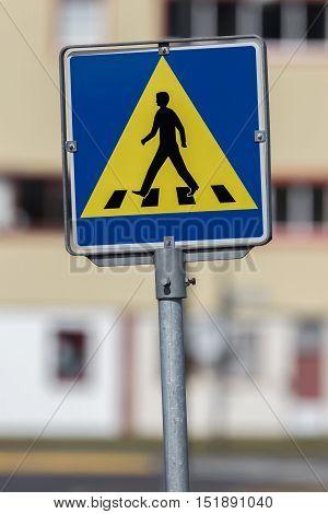 Vintage Pedestrian Transit Traffic Sign In Iceland
