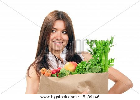 Woman Holding Bags With Food Ingredients