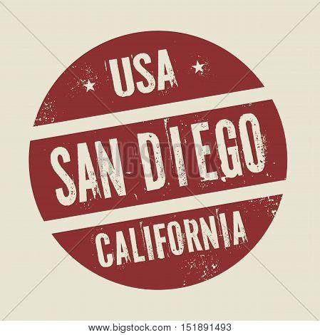 Grunge vintage round stamp with text San Jose California vector illustration