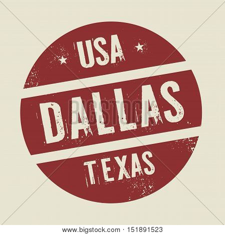 Grunge vintage round stamp with text Dallas Texas vector illustration
