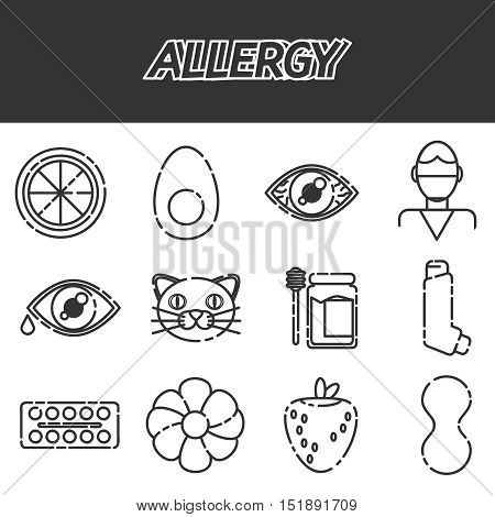 Allergy icons set. Vector illustration EPS 10