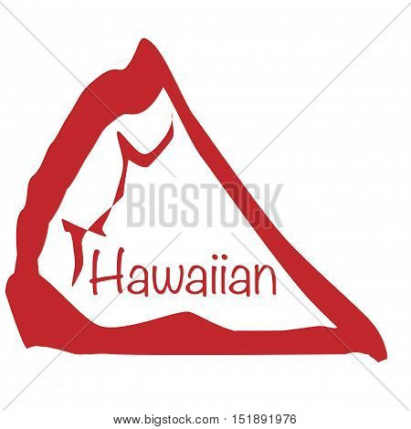 Cartoon depiction of a Hawaiian pizza slice over a white background