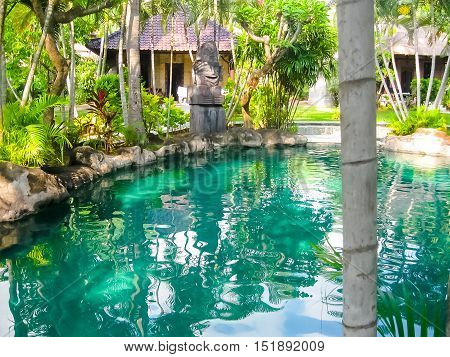 Amed, Indonesia - April 13, 2014: View of swimming pool at Coral View Villas at Amed, Indonesia