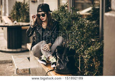 Stylish Woman On A City Street