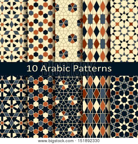 set of ten seamess vector arabic geometric traditional patterns