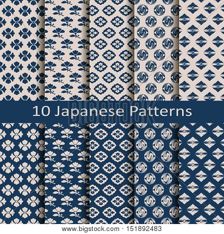 set of ten seamless vector traditional japanese patterns