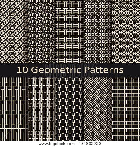 set of ten seamless vector monochrome geometric lineal patterns