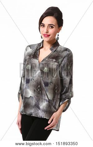 woman with updo hair style in fokrmal prit long sleeve blouse close up portrait standing isolated on white