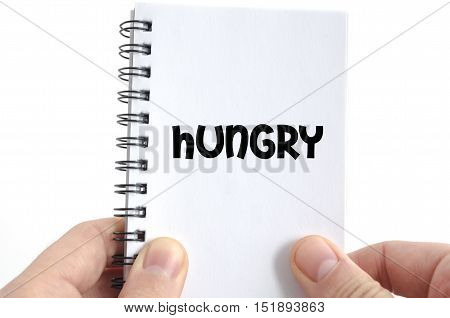 Hungry text concept isolated over white background