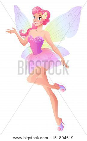 Beautiful flying and presenting fairy with wings. Cartoon style vector illustration isolated on white background.