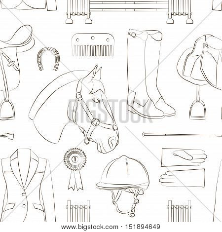 Pattern of different quipment for horses. Equestrian objects. Isolated elements.