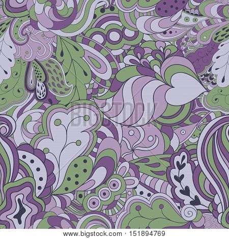 Seamless abstract hand drawn colorful waves pattern