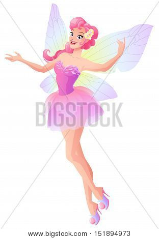 Beautiful flying and presenting fairy in pink dress with butterfly wings. Cartoon style vector illustration isolated on white background.